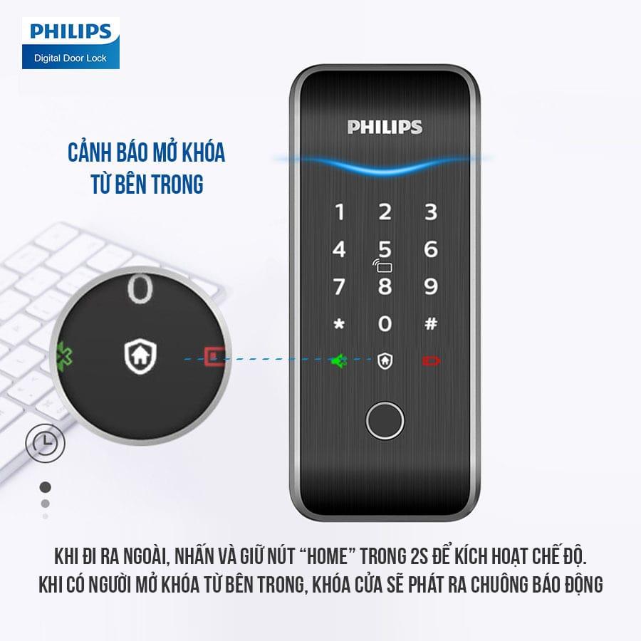 6. Cảnh báo nguy hiểm từ bên trong trên khoá điện tử Philips 5100-5HBKS