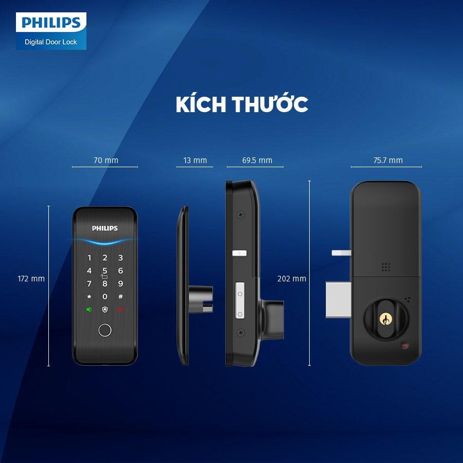 1.Thiết kế khoá vân tay Philips 5100-5HBKS nhỏ gọn, sang trọng