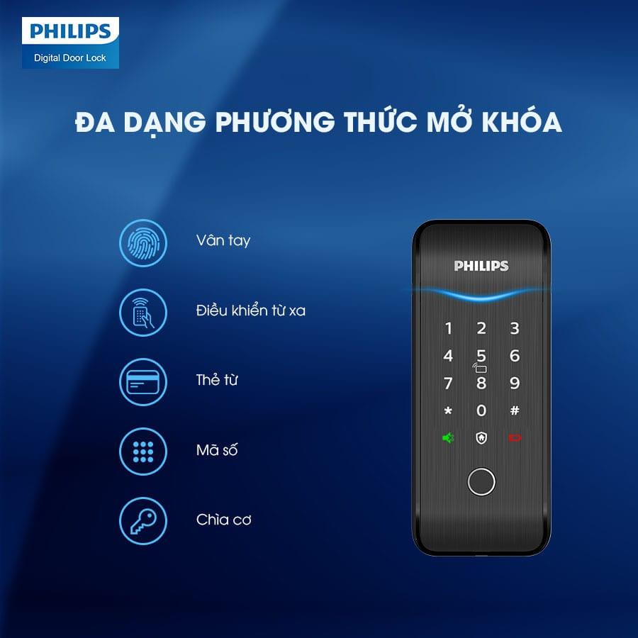 4. Khoá cửa Philips 5100-5HBKS trang bị 5 phương thức mở khoá tiện dụng